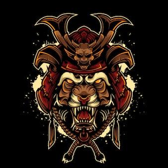 Angry tiger vintage logo style mit japanischem samurai helm