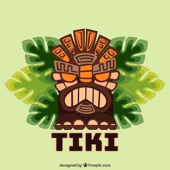 Angry tiki maske mit palmblättern