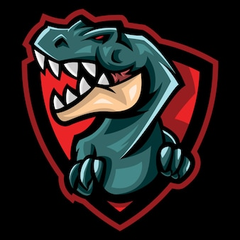 Angry trex esport logo illustration