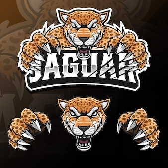 Angry wildes tier jaguar isoliert esport logo illustration