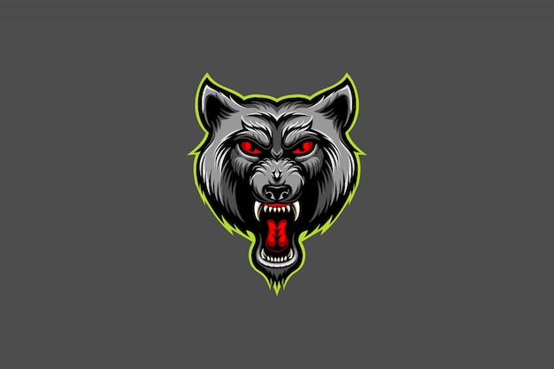 Angry wolf head esport logo