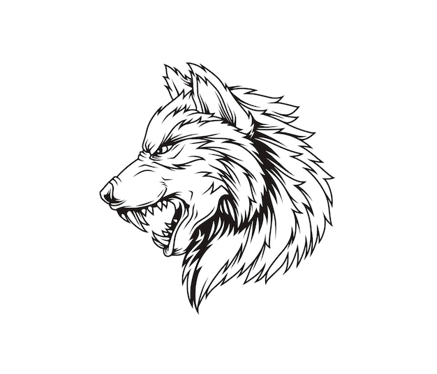 Angry wolf line art illustration