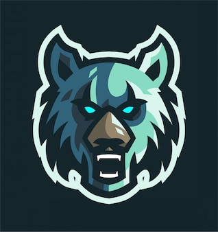 Angry wolf maskottchen gaming logo