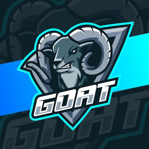 Angry ziege maskottchen esport logo design