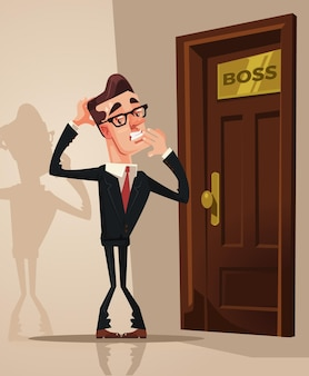 Angst erschrockener büroangestellter, der angst hat, das büro des chefs zu betreten. flache karikaturillustration des vektors