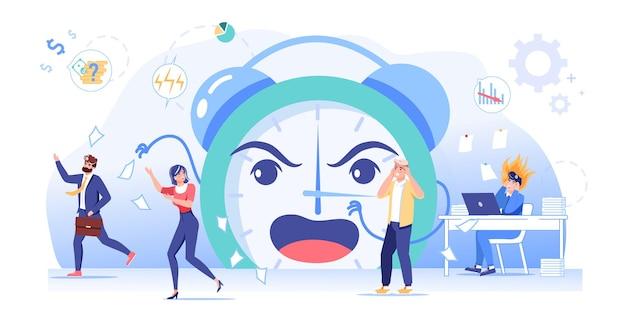 Angst verärgerte mitarbeiter in panik, überarbeitung in terminstress-situationworkflow-optimierung