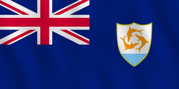 Anguilla-flagge mit wehender wirkung, offizielle proportion.