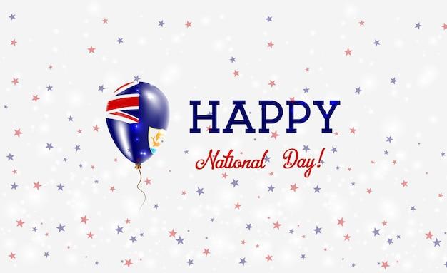Anguilla national day patriotisches plakat. fliegender gummiballon in den farben der anguillian-flagge. anguilla national day hintergrund mit ballon, konfetti, sternen, bokeh und sparkles.