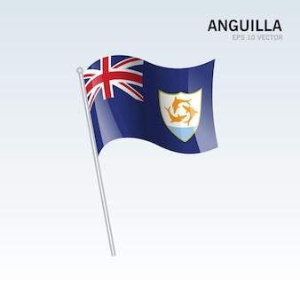 Anguilla wehende flagge isoliert auf grau