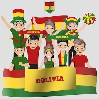 Anhänger der bolivianischen fußballnationalmannschaft für den amerikanischen wettbewerb