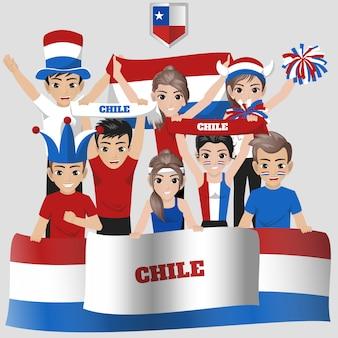 Anhänger der chilenischen fußballnationalmannschaft für den amerikanischen wettbewerb
