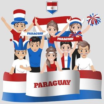 Anhänger der paraguayischen fußballnationalmannschaft für den amerikanischen wettbewerb