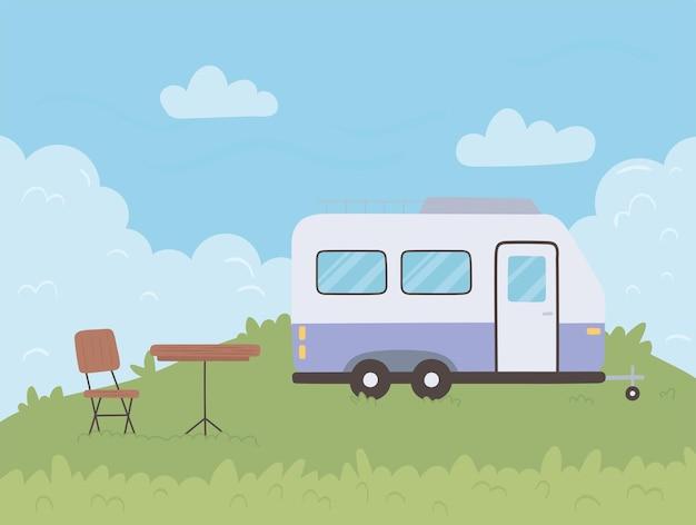 Anhänger im campingplatz
