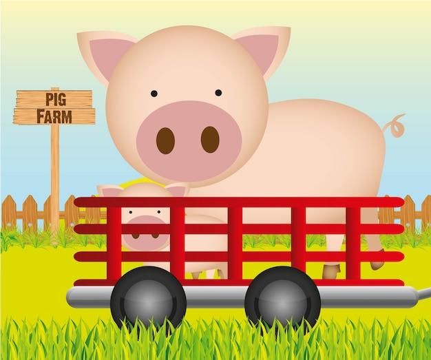 Anhänger mit schweinefarm hintergrund vektor-illustration