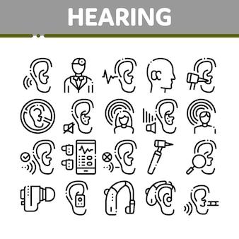Anhörung menschlichen sinnes sammlung icons set