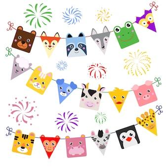 Animalistic dekor der tiergesichtsvektorkarikatur von kinderalles gute zum geburtstagfeiertag