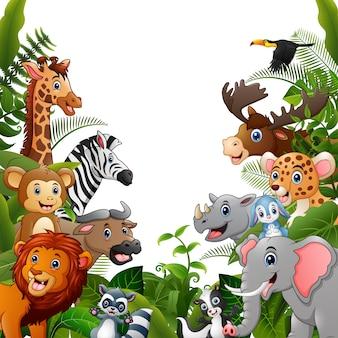 Animals forest cartoons treffen sich zusammen