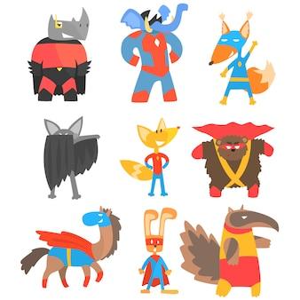 Animas als superhelden verkleidet set von geometrischen stil aufkleber