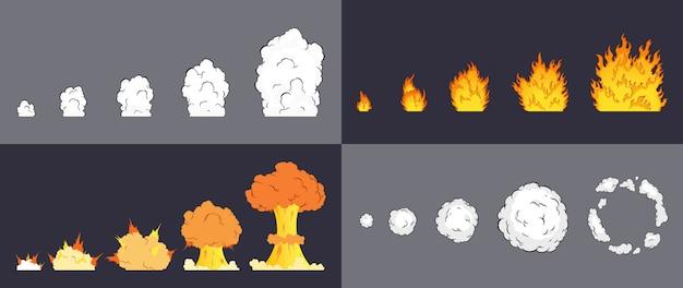 Animation des explosionseffekts im comic-comic-stil. cartoon-explosionseffekt mit rauch für spiel. sprite-blatt für cartoon-feuer-explosion, flash-game-effekt-animation