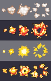 Animation des explosionseffekts im comic-comic-stil. cartoon-explosionseffekt mit rauch für spiel.