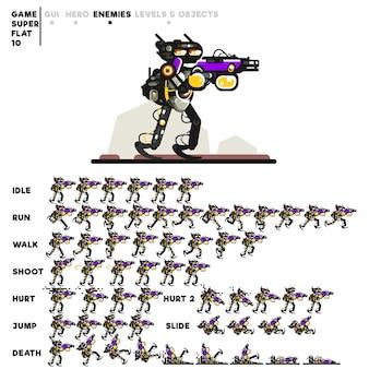 Animation eines cyborgs mit einer schrotflinte zum erstellen eines videospiels