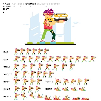 Animation eines fortgeschrittenen futuristischen jungen mit einer schrotflinte zum erstellen eines videospiels