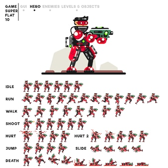 Animation eines fortgeschrittenen soldaten mit einer minigun zum erstellen eines videospiels