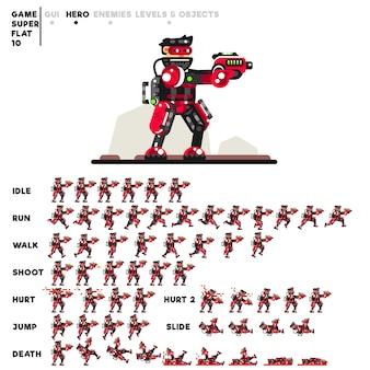 Animation eines fortgeschrittenen soldaten mit einer pistole zum erstellen eines videospiels