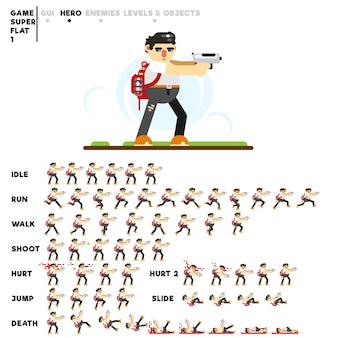 Animation eines kerls mit einer pistole zum erstellen eines videospiels