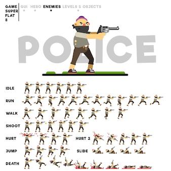 Animation eines kriminellen mannes mit einer pistole zum erstellen eines videospiels