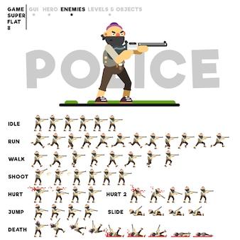 Animation eines kriminellen mannes mit einer waffe zum erstellen eines videospiels