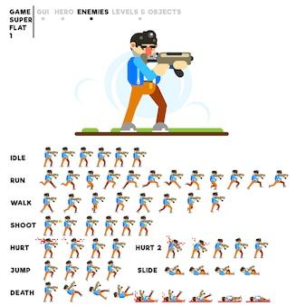 Animation eines mannes mit einem automaten zum erstellen eines videospiels