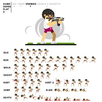 Animation eines mannes mit einer minigun zum erstellen eines videospiels