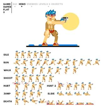 Animation eines mannes mit einer pistole zum erstellen eines videospiels