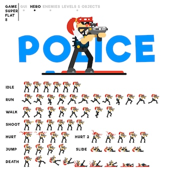 Animation eines polizeimädchens mit einem gewehr zum erstellen eines videospiels