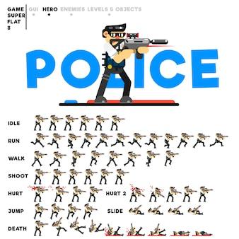 Animation eines polizisten mit einem gewehr zum erstellen eines videospiels