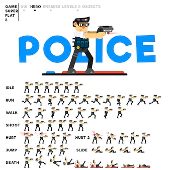 Animation eines polizisten mit einer pistole zum erstellen eines videospiels