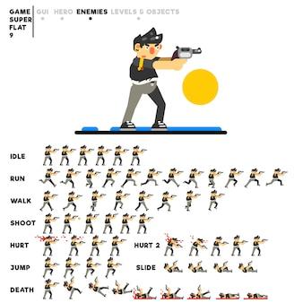 Animation eines schlägers mit einer pistole zum erstellen eines videospiels