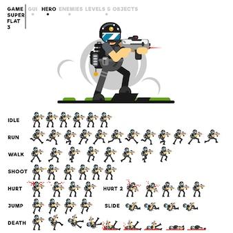 Animation eines spezialeinheitentyps mit einem gewehr zum erstellen eines videospiels