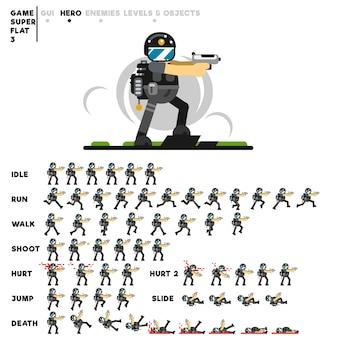 Animation eines spezialeinheitentyps mit einer pistole zum erstellen eines videospiels