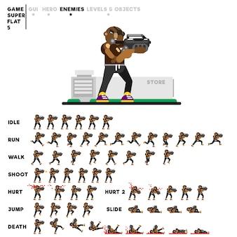 Animation eines sportlichen mannes mit einem gewehr zum erstellen eines videospiels