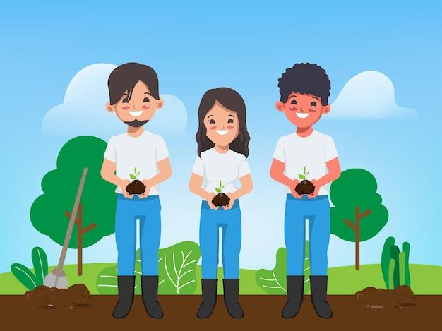 Animation junger menschen bäume pflanzen, um die welt zu retten cartoon-vektor-design