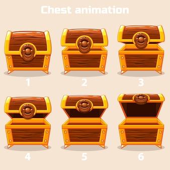 Animation schritt für schritt offene und geschlossene holzkiste
