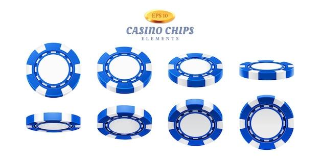 Animations-sprites für realistische casino-chips oder frames für das spielen von flip mit leeren token, bewegungszyklen für leere plastik-chips. glücksspiel-thema