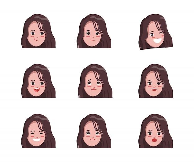 Animationscharakter der emotionen stellen junge frau gegenüber.
