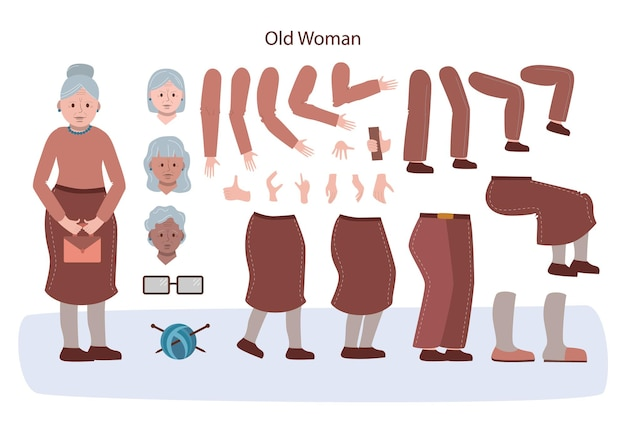Animationsset für ältere charaktere. alte frau mit verschiedenen ansichten, frisuren
