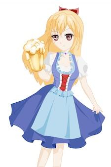 Anime frau charakter oktoberfest