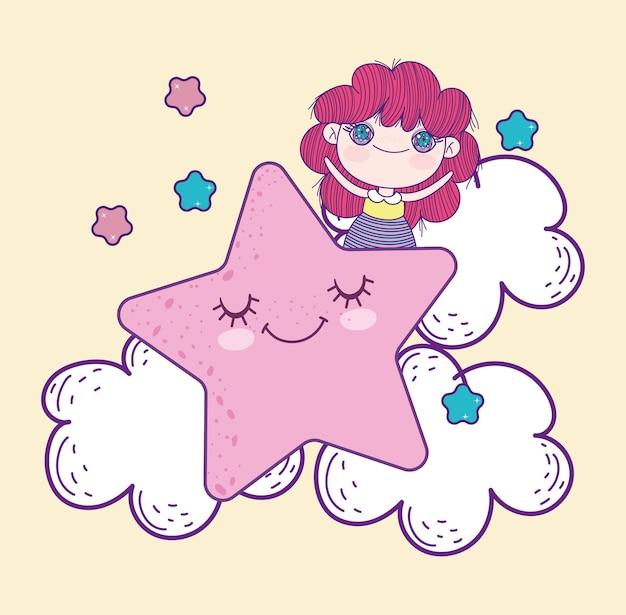 Anime kleines mädchen mit stern