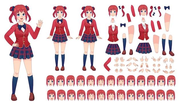 Anime-mädchen-charakter-kit. cartoon schulmädchenuniform im japanischen stil. kawaii manga student posen, gesichter, emotionen und hände vektorset. illustration japanischer charakter mädchen lächeln, kit set anime