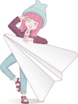 Anime mädchen mit papierflieger